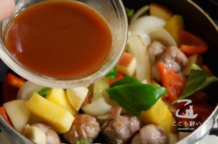 揚げないフルーツ酢豚の作り方の手順4