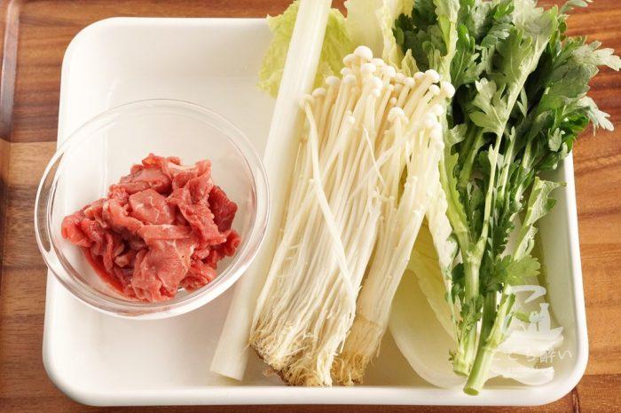牛肉と冬野菜のすき煮の材料(その1)