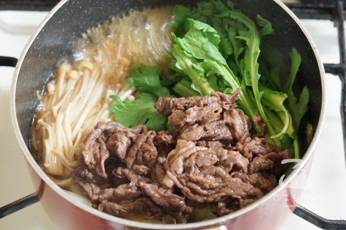 牛肉と冬野菜のすき煮の作り方の手順3