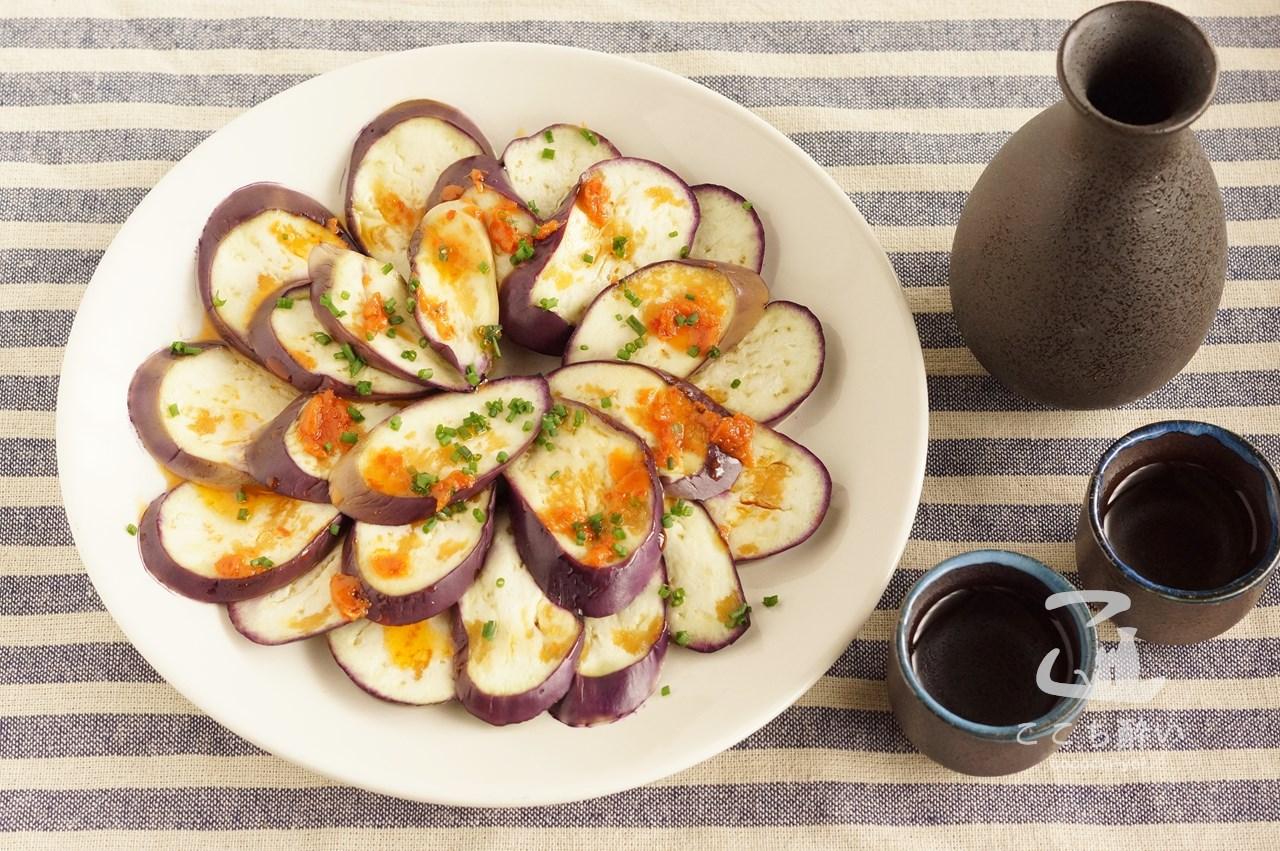 かんずりソースの茄子カルパッチョと日本酒