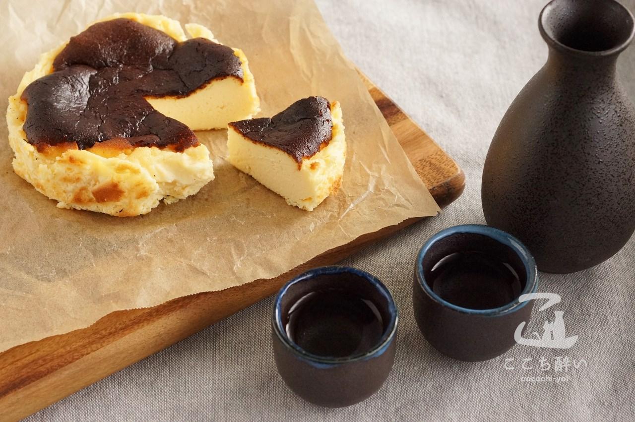 バスク風チーズケーキと日本酒