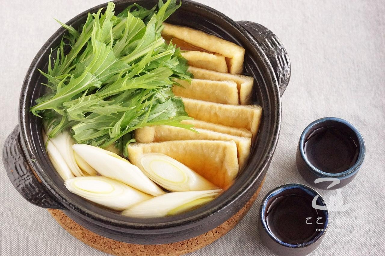 はりはりきつね鍋と日本酒