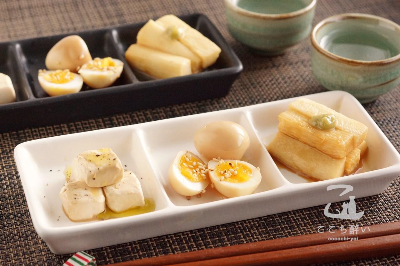 醤油漬け3品と日本酒